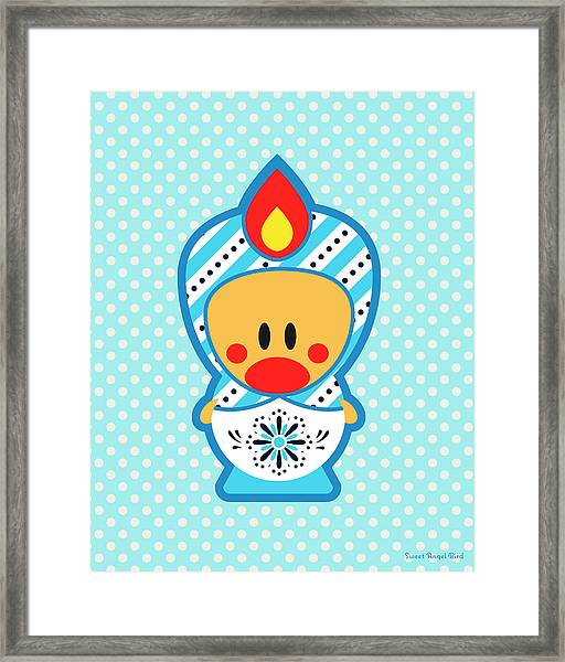 Cute Art - Blue Polka Dot Folk Art Sweet Angel Bird In A Matryoshka Costume Wall Art Print Framed Print