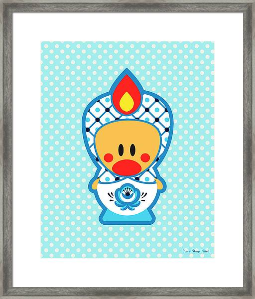 Cute Art - Blue Polka Dot Folk Art Sweet Angel Bird In A Nesting Doll Costume Wall Art Print Framed Print