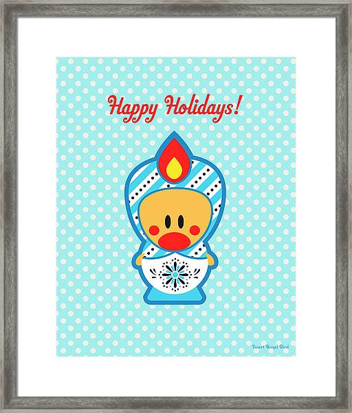 Cute Art - Blue Polka Dot Happy Holidays Folk Art Sweet Angel Bird In A Nesting Doll Costume Wall Art Print Framed Print