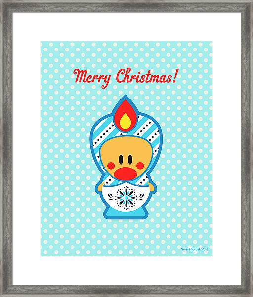 Cute Art - Blue Polka Dot Merry Christmas Folk Art Sweet Angel Bird In A Nesting Doll Costume Wall Art Print Framed Print