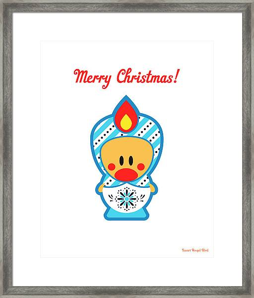 Cute Art - Merry Christmas Folk Art Sweet Angel Bird In A Nesting Doll Costume Wall Art Print Framed Print