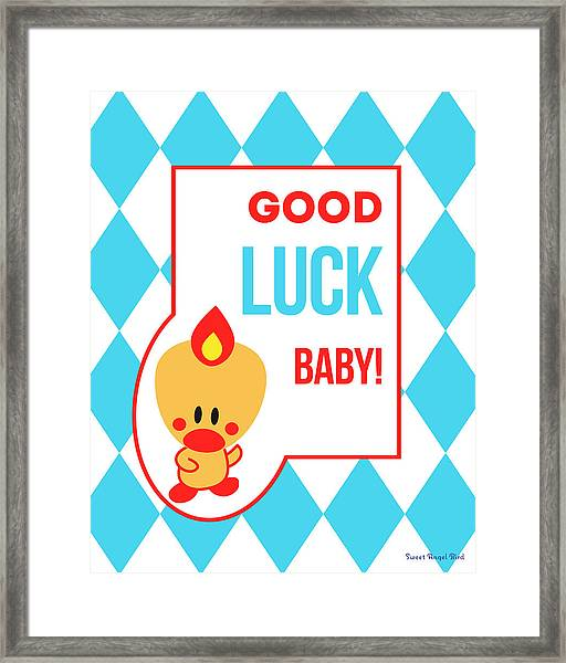 Cute Art - Sweet Angel Bird Blue Good Luck Baby Circus Diamond Pattern Wall Art Print Framed Print