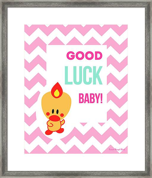 Cute Art - Sweet Angel Bird Cotton Candy Pink Good Luck Baby Chevron Wall Art Print Framed Print