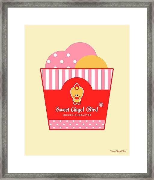 Cute Art - Sweet Angel Bird Ice Cream Party Wall Art Print, Home Decor, Unique Gift Framed Print