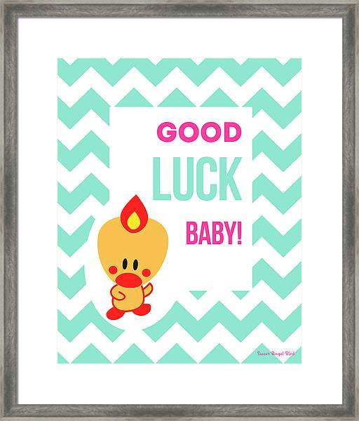 Cute Art - Sweet Angel Bird Light Teal Good Luck Baby Chevron Wall Art Print Framed Print