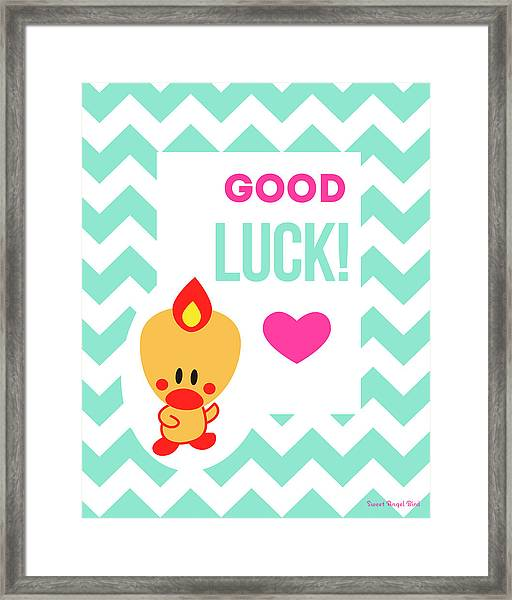 Cute Art - Sweet Angel Bird Light Teal Good Luck Chevron Wall Art Print Framed Print