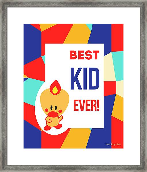 Cute Art - Sweet Angel Bird Multicolor Colorblock Best Kid Ever Wall Art Print Framed Print