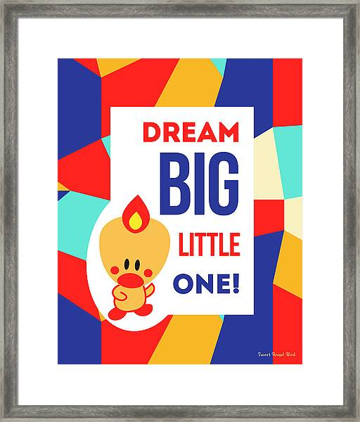 Cute Art - Sweet Angel Bird Multicolor Colorblock Dream Big Little One Wall Art Print Framed Print