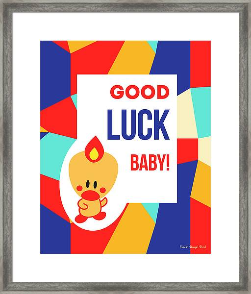 Cute Art - Sweet Angel Bird Multicolor Colorblock Good Luck Baby Wall Art Print Framed Print