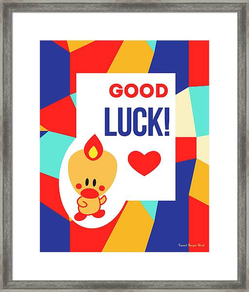 Cute Art - Sweet Angel Bird Multicolor Colorblock Good Luck Wall Art Print Framed Print