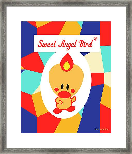 Cute Art - Sweet Angel Bird Multicolor Colorblock Logo Wall Art Print Framed Print