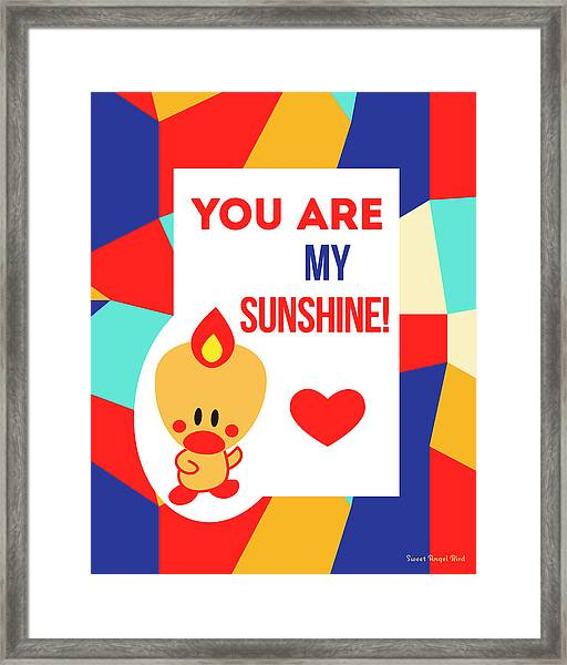 Cute Art - Sweet Angel Bird Multicolor Colorblock You Are My Sunshine Wall Art Print Framed Print