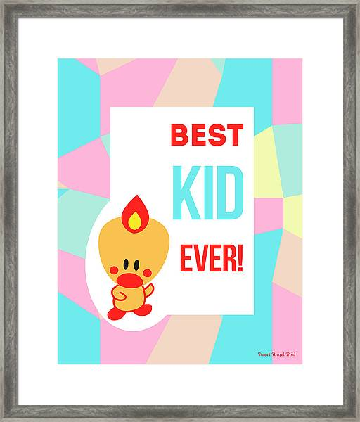Cute Art - Sweet Angel Bird Pastel Colorblock Best Kid Ever Wall Art Print Framed Print