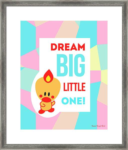 Cute Art - Sweet Angel Bird Pastel Colorblock Dream Big Little One Wall Art Print Framed Print