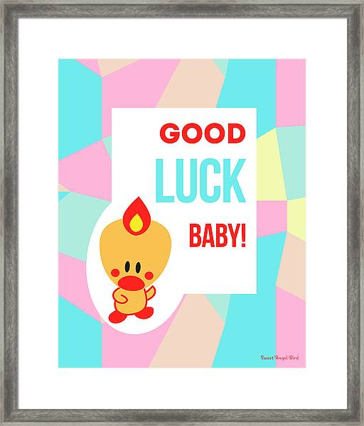 Cute Art - Sweet Angel Bird Pastel Colorblock Good Luck Baby Wall Art Print Framed Print