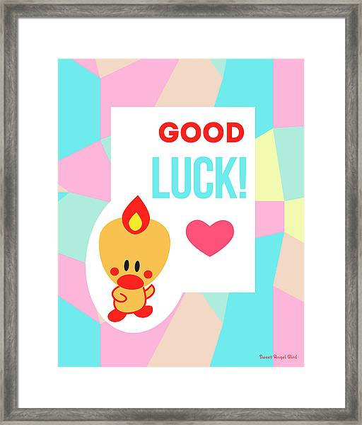 Cute Art - Sweet Angel Bird Pastel Colorblock Good Luck Wall Art Print Framed Print