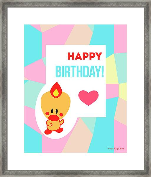 Cute Art - Sweet Angel Bird Pastel Colorblock Happy Birthday Wall Art Print Framed Print