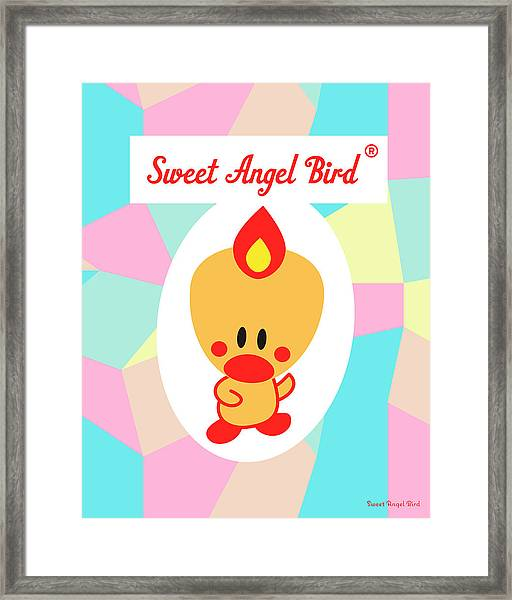 Cute Art - Sweet Angel Bird Pastel Colorblock Logo Wall Art Print Framed Print