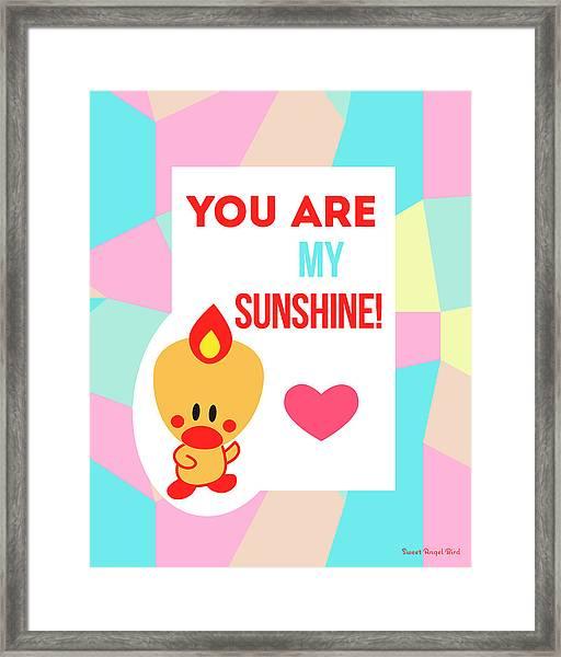 Cute Art - Sweet Angel Bird Pastel Colorblock You Are My Sunshine Wall Art Print Framed Print