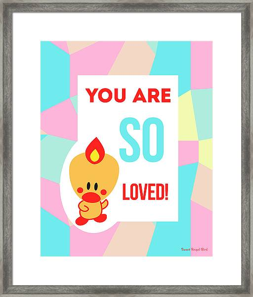 Cute Art - Sweet Angel Bird Pastel Colorblock You Are So Loved Wall Art Print Framed Print
