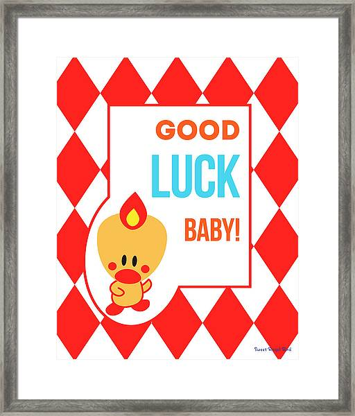 Cute Art - Sweet Angel Bird Red Good Luck Baby Circus Diamond Pattern Wall Art Print Framed Print