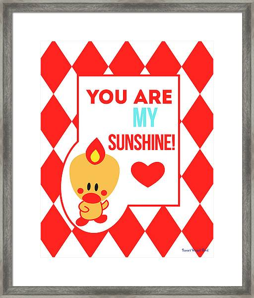Cute Art - Sweet Angel Bird Red You Are My Sunshine Circus Diamond Pattern Wall Art Print Framed Print