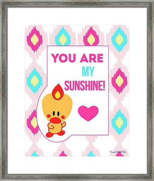 Cute Art - Sweet Angel Bird You Are My Sunshine Ikat Wall Art Print Framed Print
