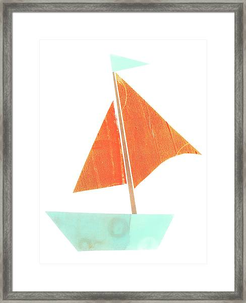 Cute Collage Sailboat 508 Framed Print