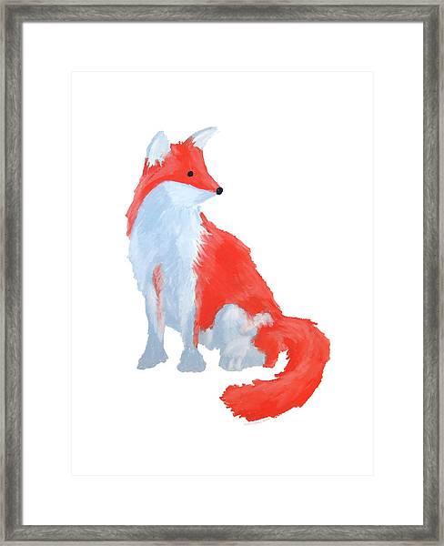 Cute Fox With Fluffy Tail Framed Print