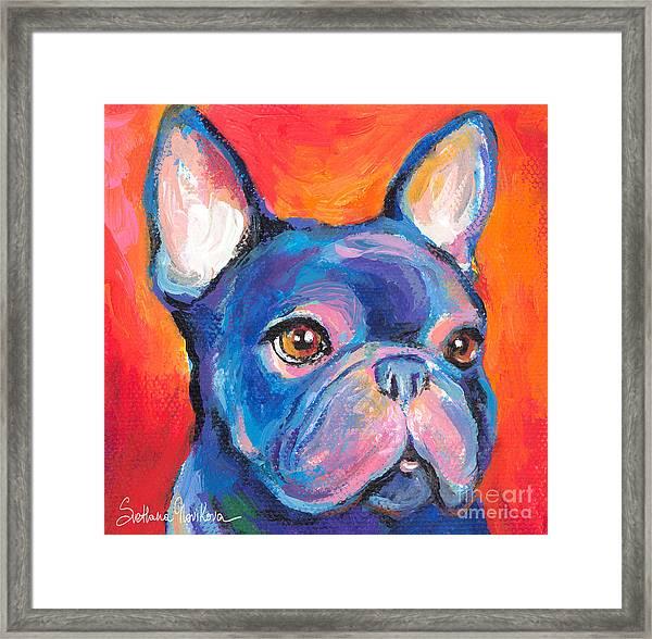 Cute French Bulldog Painting Prints Framed Print