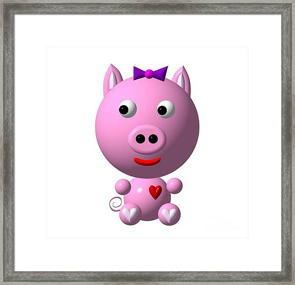 Cute Pink Pig With Purple Bow Framed Print