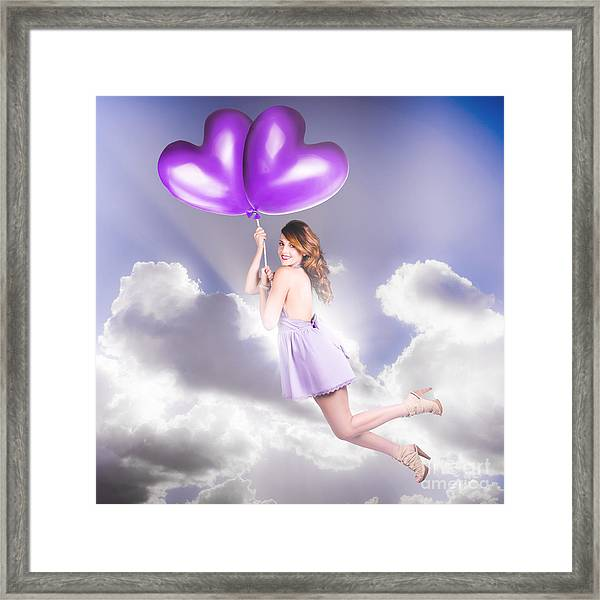 Cute Retro Pinup Girl Holding Heart Shaped Balloon Framed Print
