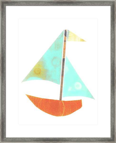 Cute Sailboat Collage 507 Framed Print