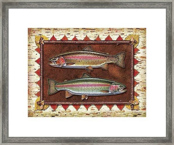 Cutthroat And Rainbow Trout Lodge Framed Print