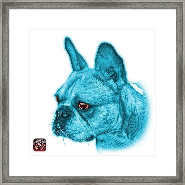 Cyan French Bulldog Pop Art - 0755 Wb Framed Print