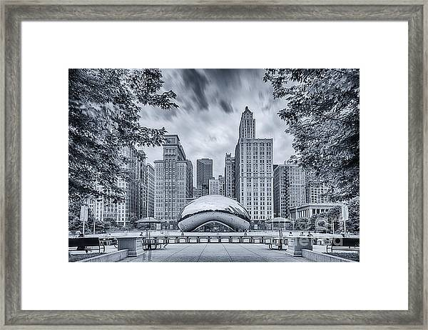 Cyanotype Anish Kapoor Cloud Gate The Bean At Millenium Park - Chicago Illinois Framed Print
