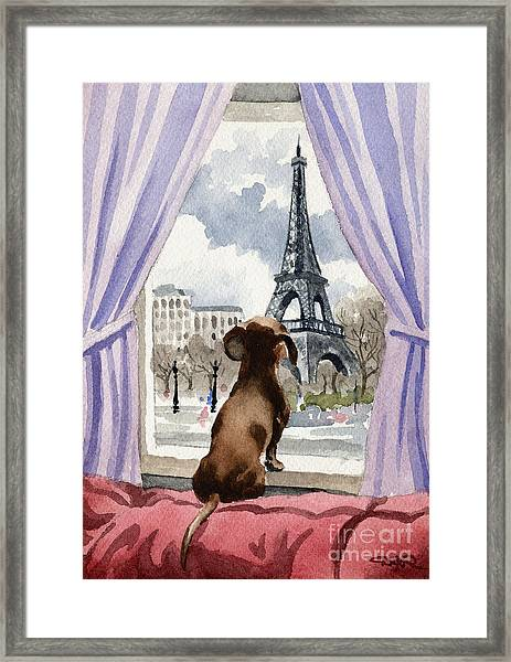 Dachshund In Paris Framed Print