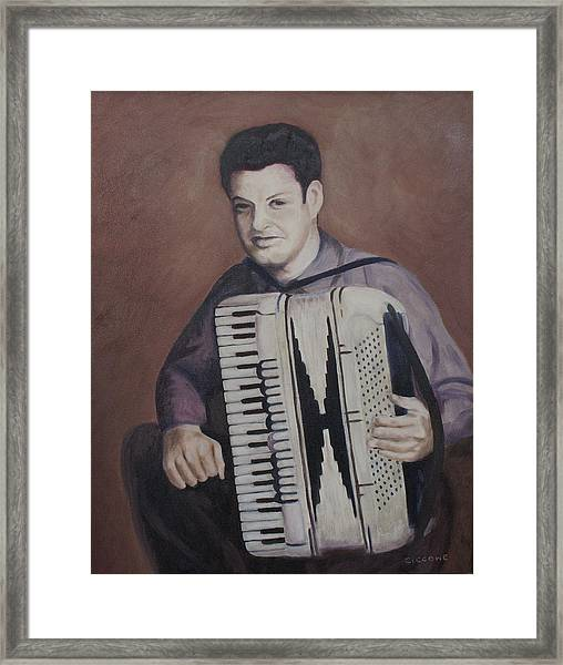 Daddy And His Accordion Framed Print
