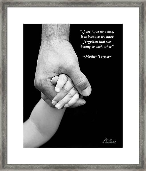 Daddy's Hand Framed Print