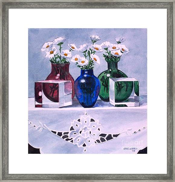 Daisies And Cubes Framed Print