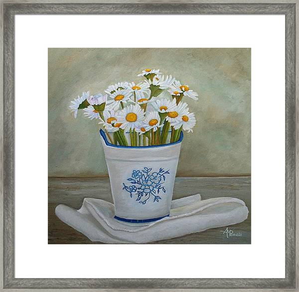 Daisies And Porcelain Framed Print