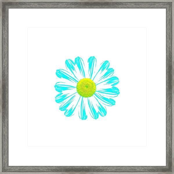 Daisy Pop Art Turquoise Framed Print