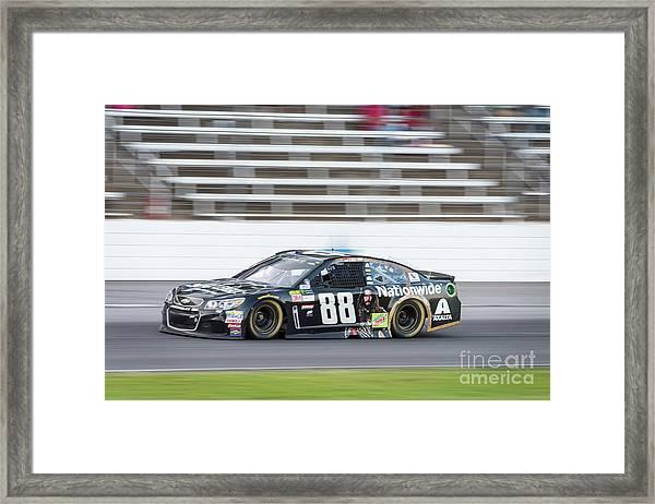 Dale Earnhardt Jr Running Hard At Texas Motor Speedway Framed Print