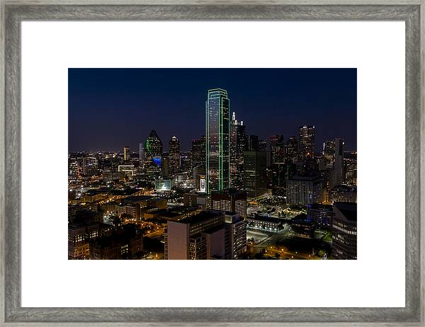 Dallas Skyline Evening Glow Framed Print