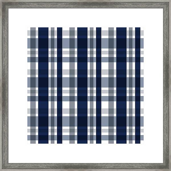 Dallas Sports Fan Navy Blue Silver Plaid Striped Framed Print