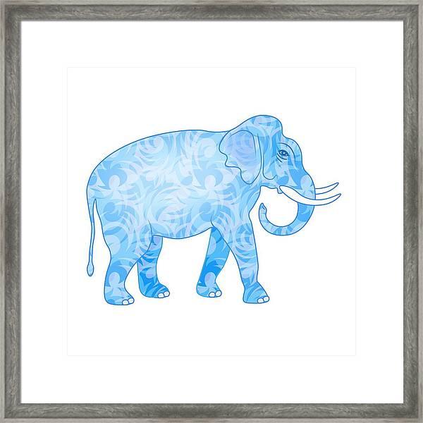 Damask Pattern Elephant Framed Print