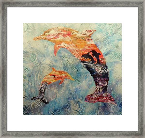 Dance At Dawn Dolphin Framed Print