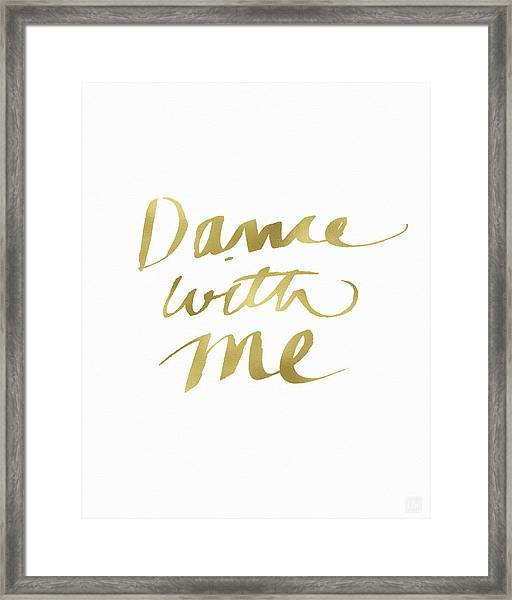Dance With Me Gold- Art By Linda Woods Framed Print