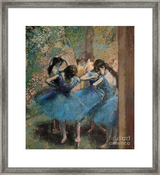 Dancers In Blue Framed Print