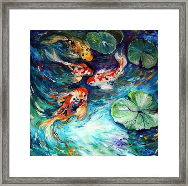 Dancing Colors Koi Framed Print